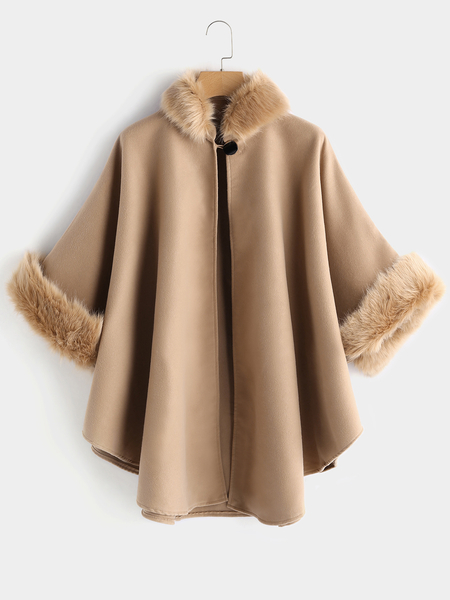 Plus Size Camel Faux Fur Trim Cape