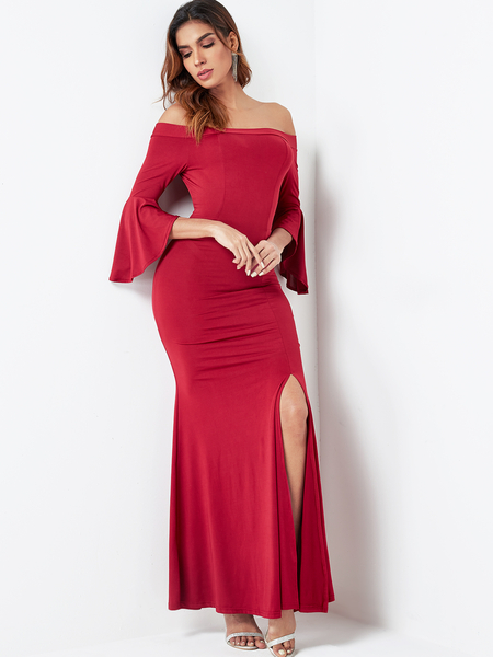 Burgundy Off The Shoulder Bell Sleeves Dress
