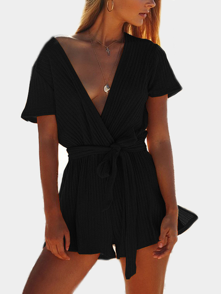 Black Rib Crossed Front Deep V-Neck Self Tie Playsuits