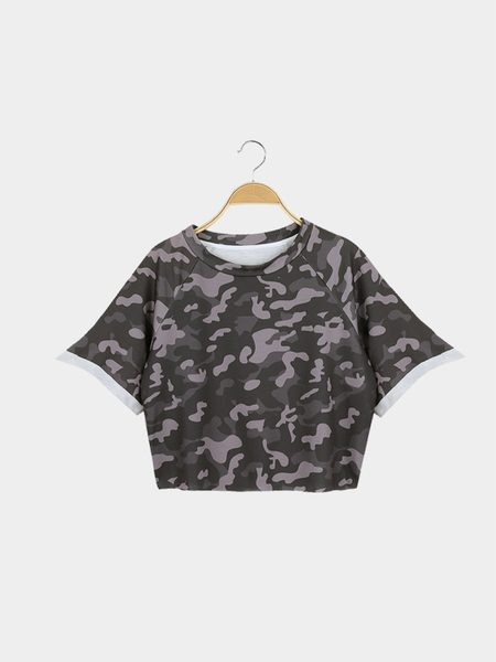 Street Style Crop Top With Camouflage Pattern
