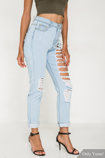Denim Jeans With Shredded Rips