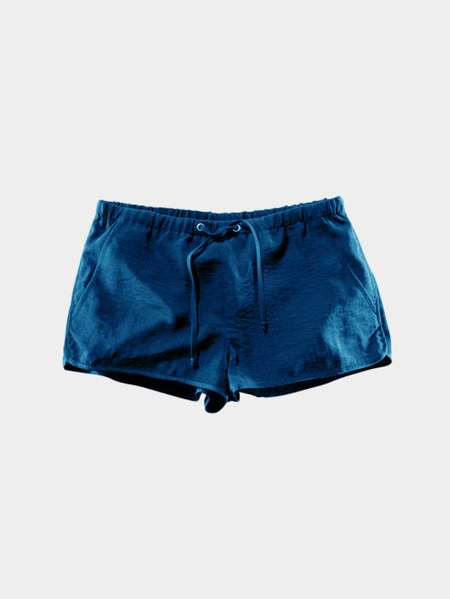 Blue Drawstring Waist Casual Shorts with Side Pockets