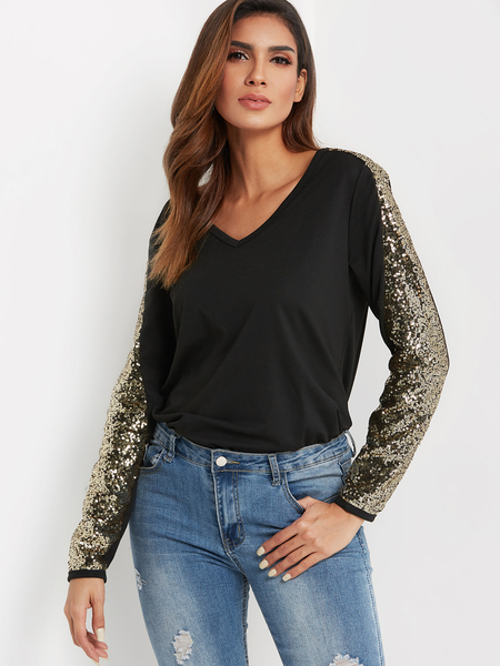 Black V-neck Long Sleeved With Sequins Embellished Top