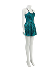 Gold Foil Stamping Party Dress With Cross Straps In Green