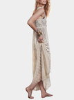 Beige Maxi Lace Dress With Square Neck