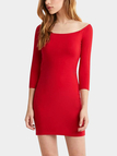 Red Wide Neck Bodycon Dress