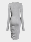 Grey Bodycon Dress with Front Pleats