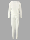 White Round Neck Long Sleeves Elastic Drawstring Wasit Ribbed Gym Outfit