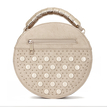Beige Round Leather-look Handle Bag with Button and Rivet Embellishment