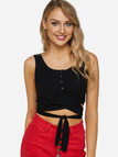 Black Self-tie Design Round Neck Casual Crop Top