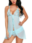 Blue V-neck See-through Mesh Lace Pajamas with Briefs