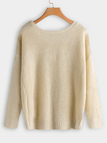 Plus Size Apricot Criss-cross Backless Design Knit Sweater