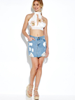 High Neck Cut Out Floral Print Self-tie Bralet with Lace Insert