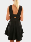 Black Deep V-neck Backless Mini Dress with Self-tie Design
