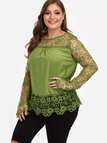 Plus Size Army Green See-through Lace Insert Top