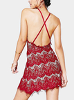 Red Sexy Backless Bodycon Halter Lace Dress