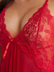 Red Mesh Lace V-neck Bow Tie Front Pajamas Dress with G-string
