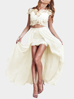 Apricot Crew Neck Top and High Low Skirt Lace Co-ord