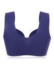 Blue Front Closure Wireless Gather Wide Shoulder Strap Bras