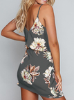 Random Floral Print Stretch Waist Sleeveless Strappy Dress in Grey