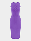 Purple Hollow Out Sleeveless Midi Dress