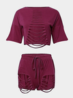 Red Short Sleeves Top & Drawstring Waist Skorts Ripped Details Co-ord
