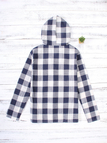 Navy Grid Pattern Long Sleeved Front Patch Pocket Hoodie