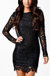 Black Backless All Over Lace Dress