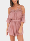 Pink Sexy Cold Shoulder Self-tie Design Playsuit