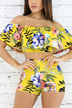 Yellow Bodycon Random Floral Print Two Piece Outfits