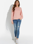 Pink Backless Design Round Neck Long Sleeves Sexy Sweatshirt