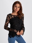 Black See-through Lace Details Round Neck Long Sleeves Top