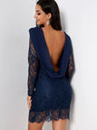 Navy Lace Backless Design Long Sleeves Mini Dress