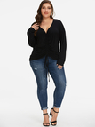 Plus Size Black Ruched Drawstring Blouse