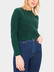 Chic Green Long Sleeves Cropped Knit Sweater