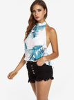 White Backless Design Random Floral Print Halter Summer Camis