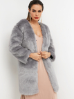 Dark Grey Plain Long Sleeves Faux Fur Coat