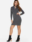 Grey Zipper Design Round Neck Long Sleeves Sexy Mini Dress