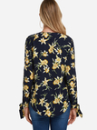 V-neck Zipper Front Slit Sleeved Random Floral Blouse in Black