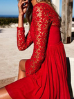 Red Lace Insert Round Neck Long Sleeves Dress