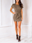 Round Neck & Tie Front Mini Dress in Army Green