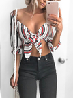 Sexy Colorful Stripe Tie-up Front Crop top
