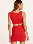 Red Scoop Neck Cami Vest & Bodycon Skirts co-ord