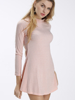Pink High Neck Long Sleeve Knit Casual Dress