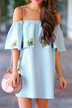 Blue Floral Embroidered Overlay Mini Dress