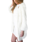 White Artificial Fur Duster Coat