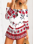 Random Floral Print Off The Shoulder Mini Playsuits