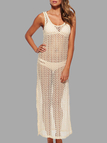 Beige Beach Hollow Out Sleeveless Maxi Cover-up