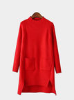 Red Long Sleeve Kint Dress with Pocket