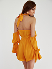 Halter Neck & Cold Shoulder Backless Playsuit in Yellow